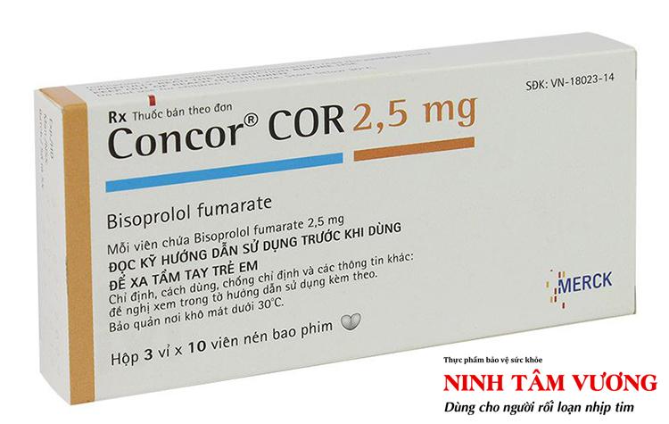 Thuốc Concor 2.5mg thường được dùng để chữa nhịp tim nhanh, tăng huyết áp