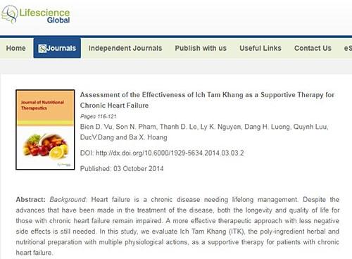 TPBVSK Ích Tâm Khang đã được đăng tải trên Tạp chí Lifescience global (Tạp chí Khoa học Toàn Cầu của Canada)