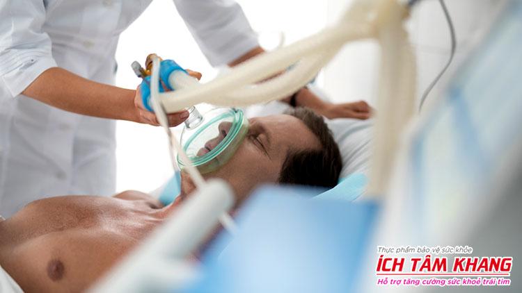 Máy thở oxy được sử dụng khi chăm sóc bệnh nhân suy tim giai đoạn cuối