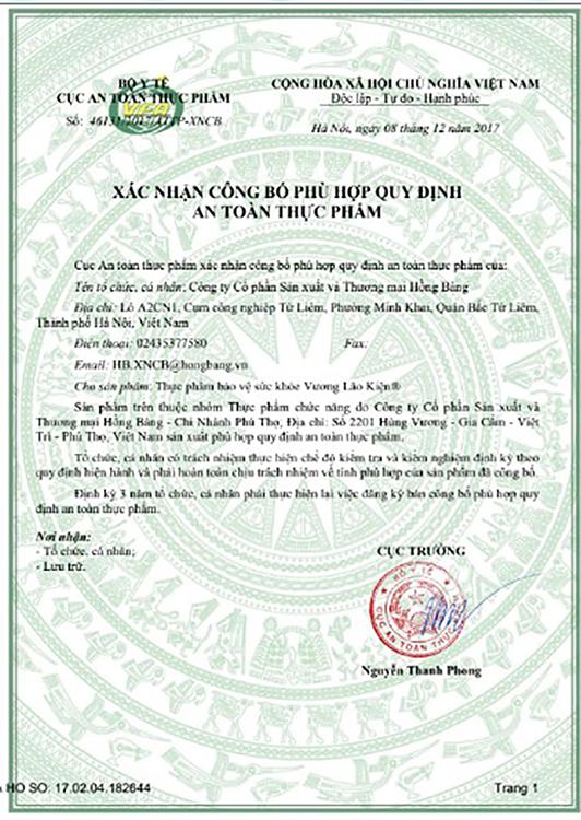 TPCN Vương Lão Kiện được Bộ Y tế xác nhận phù hợp quy định an toàn thực phẩm