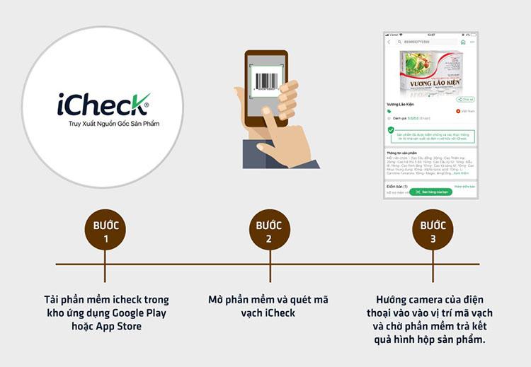 Kiểm tra thông tin sản phẩm Vương Lão Kiện bằng phần mềm icheck