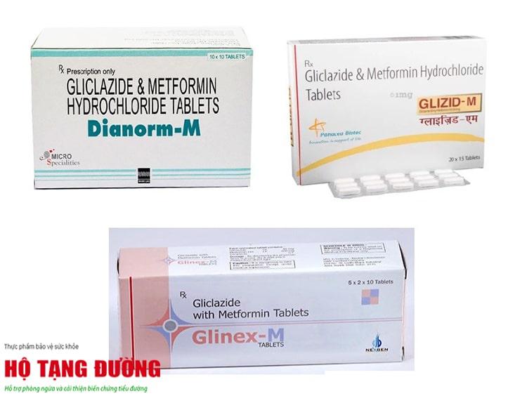 Một số dạng thuốc phối hợp giữa Gliclazide và Metformin.