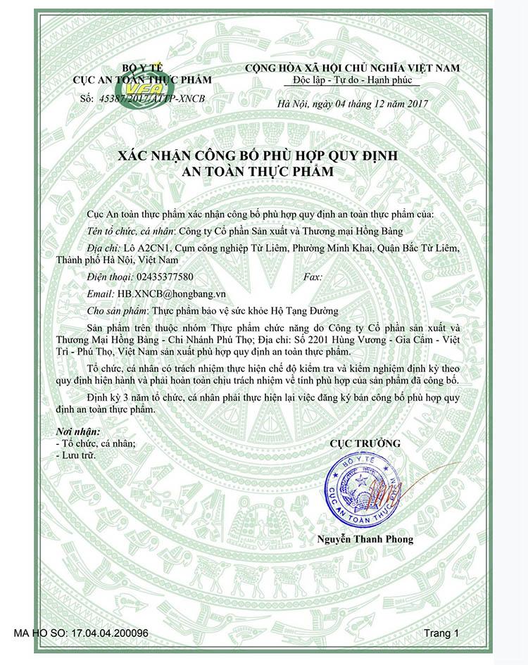 Xác nhận công bố TPBVSK Hộ Tạng Đường phù hợp quy định an toàn thực phẩm