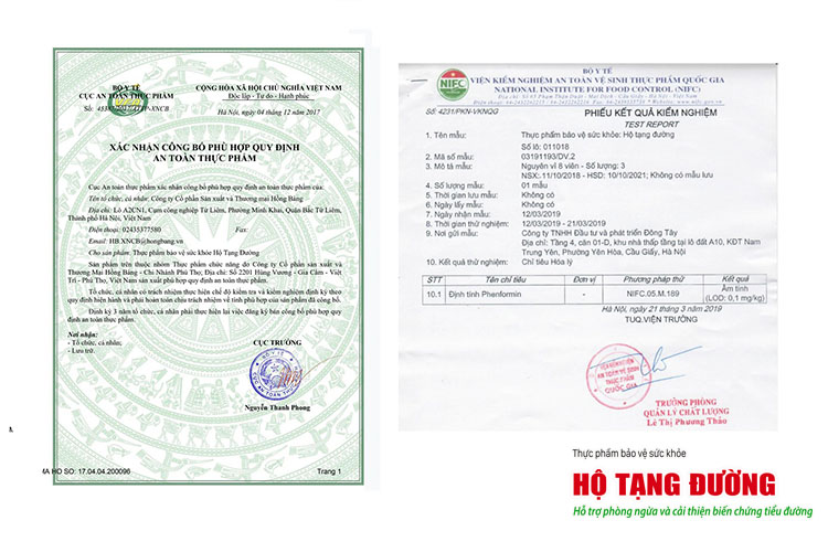 Hình ảnh phiếu xác nhận công bố và phiếu kiểm nghiệm sản phẩm.